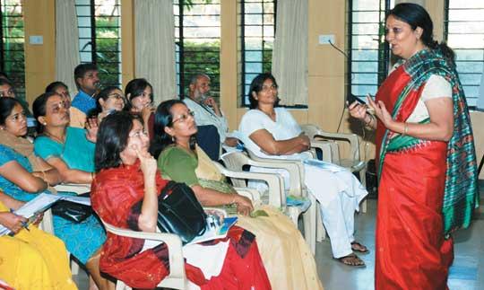 Sheela Ramakrishnan making her presentation