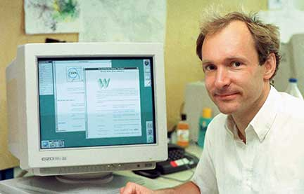 Tim Berners-Lee with the NeXT computer that he used to invent the World Wide Web.