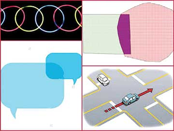 Figure 1: Picture collage showing intersecting objects in real life