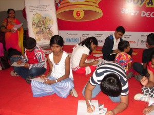Children engrossed in writing