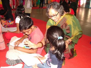 Usha interacting with children