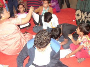 Manaswini with the children
