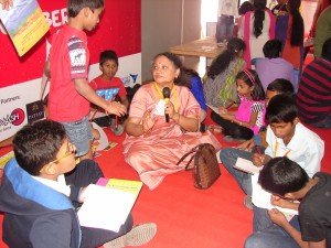 Manaswini interacting with children